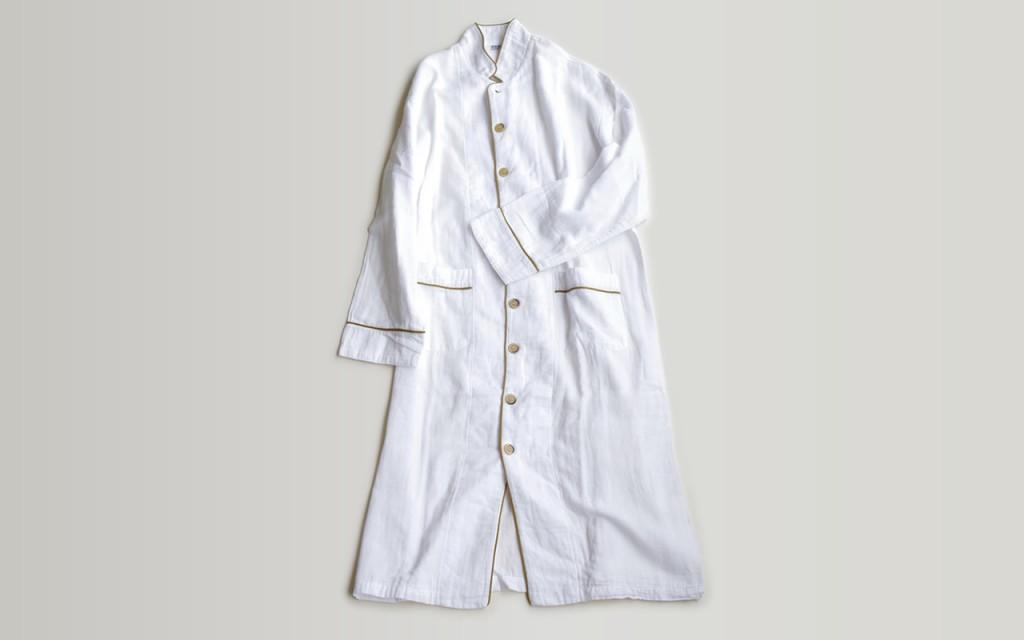 ガーゼロングパジャマ 2重合わせ 白/上下セット S・M・L